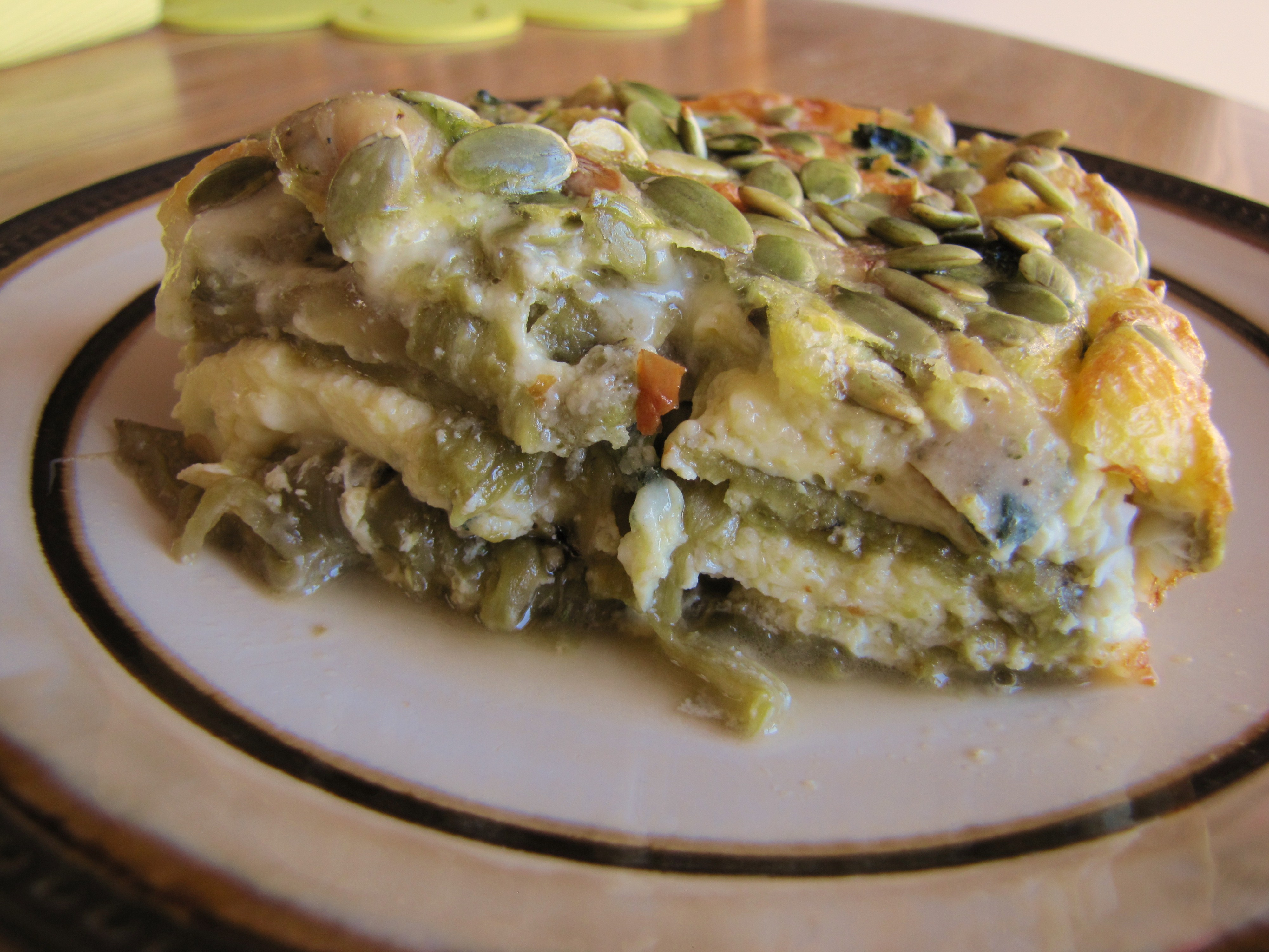 Layers of roasted green chilies, cheese and eggs...yum