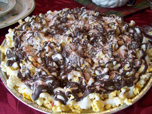 Chocolate Drizzzled Popcorn with Peppermints